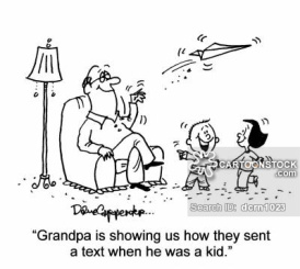 'Grandpa is showing us how they sent a text when he was a kid.'